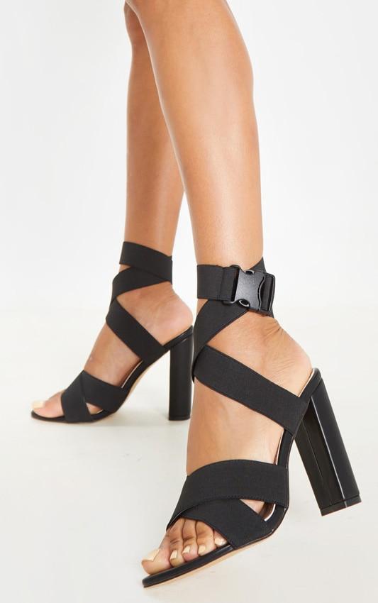 Black Elastic Buckle Detail Block Heel Sandal 2
