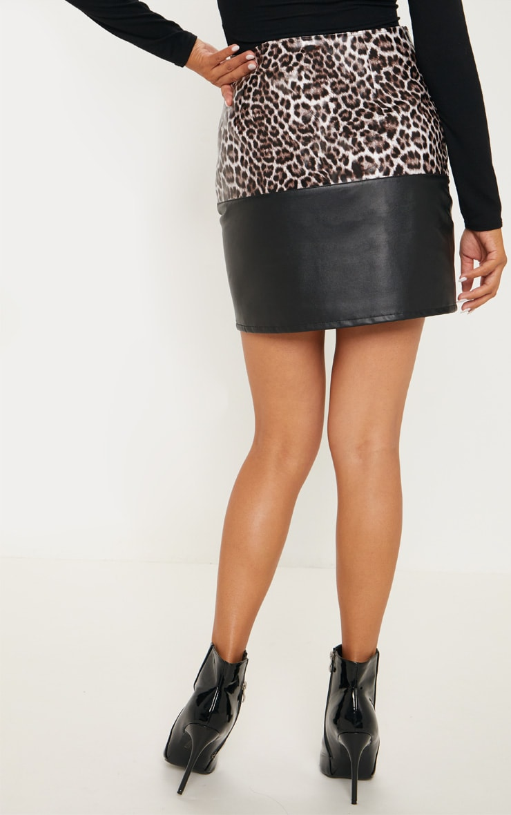 Brown Faux Leather Animal Print Colour Block Skirt 4