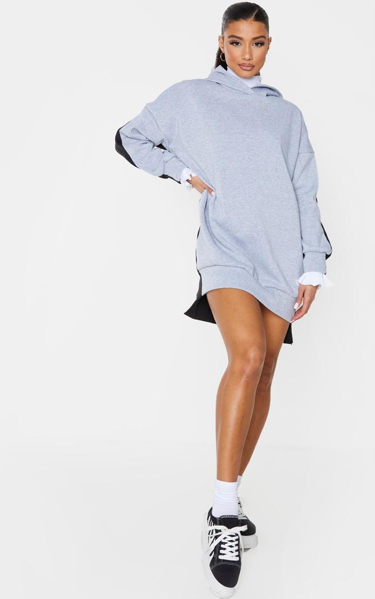 Grey Contrast Oversized Hoodie Jumper Dress 1