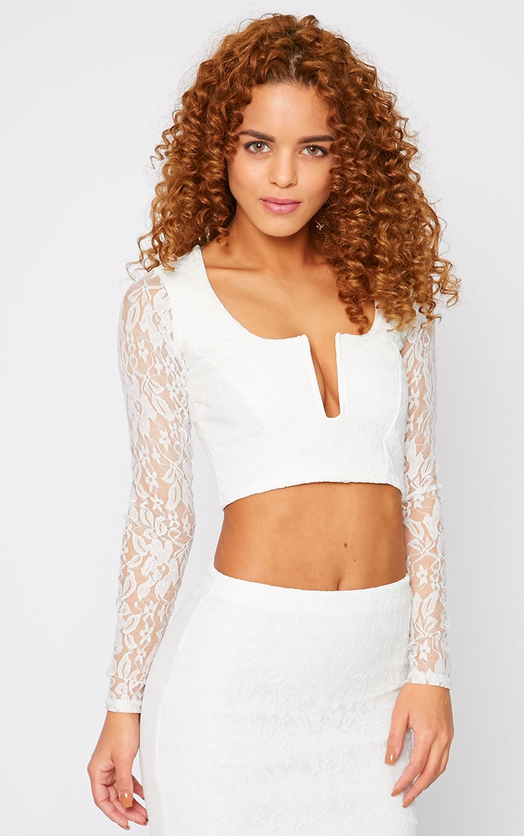 Danita Cream Lace Sweetheart Plunge Crop Top  4