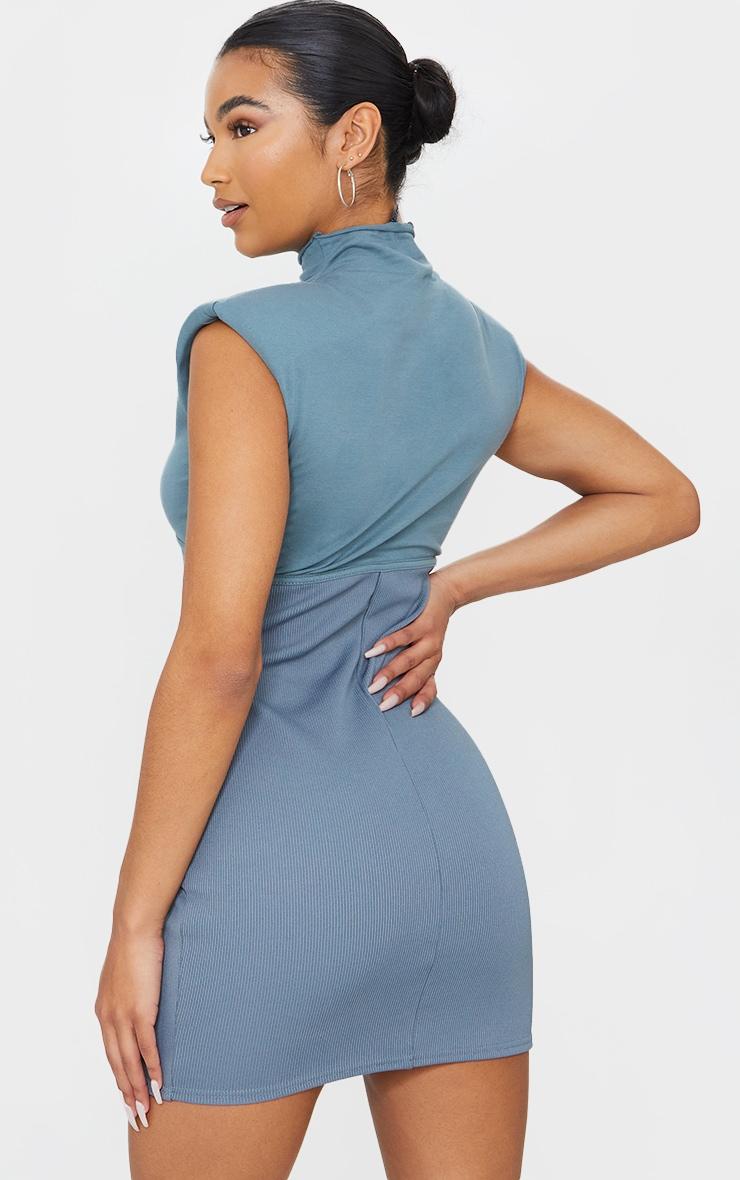Charcoal Blue Shoulder Pad Underbust Binding Sleeveless Bodycon Dress 2