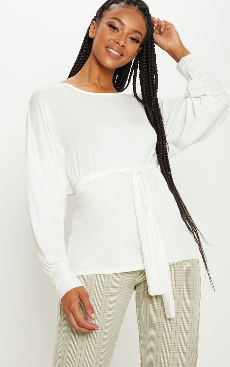Cream Long Sleeve Belted Top
