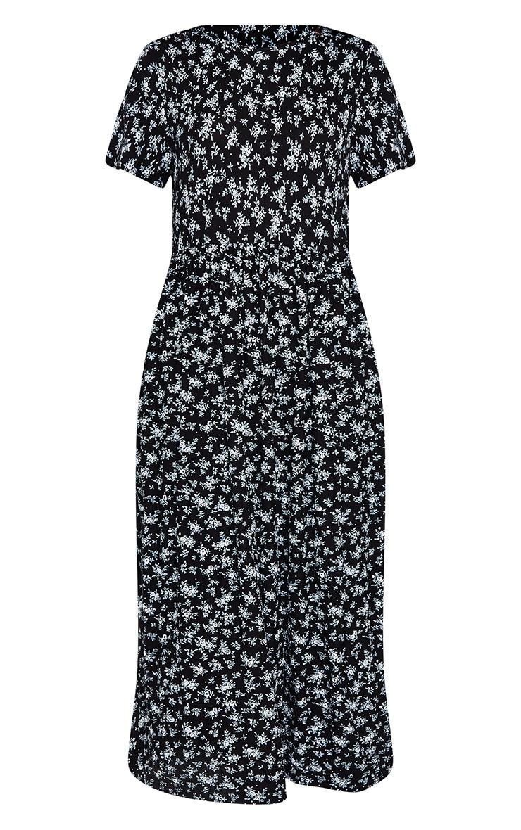 Black Ditsy Print Short Sleeve Midi Smock Dress 5