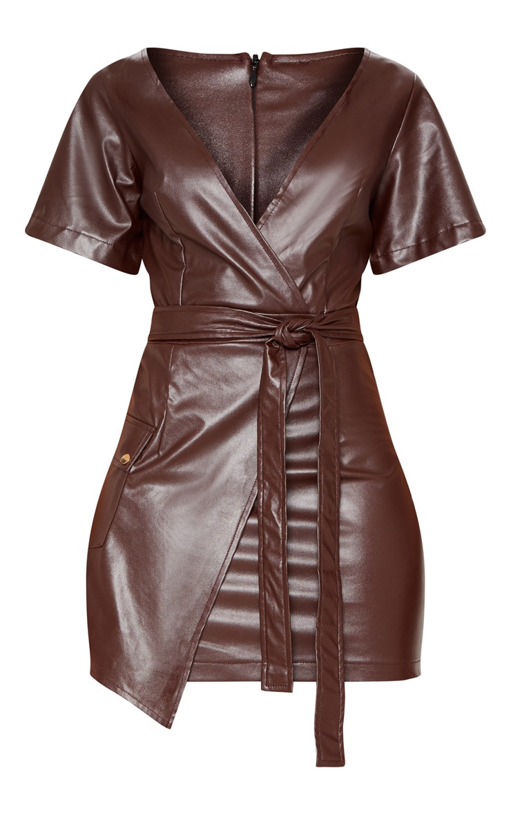 Chocolate Brown PU Wrap Bodycon Dress 3