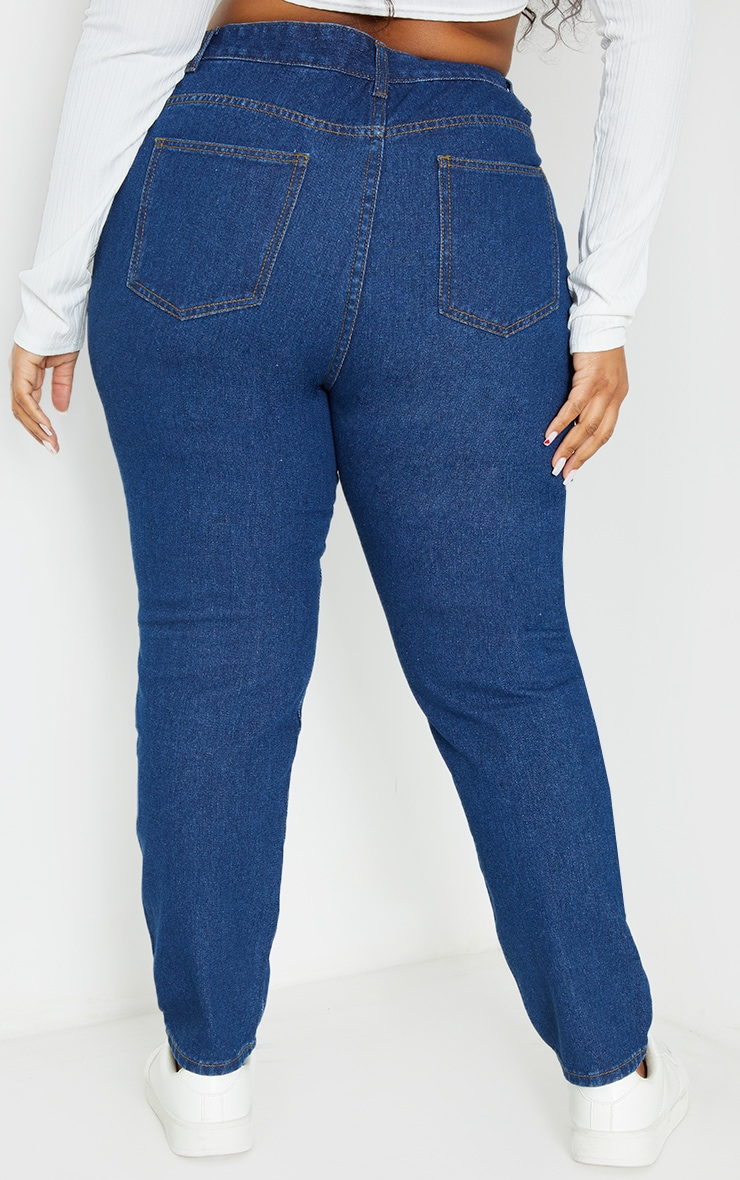 Plus Mid Wash Basic Straight Leg Jeans 3