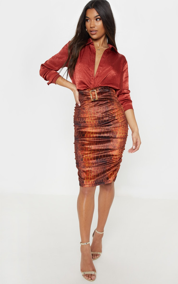 Croc Print Velvet Belted Waist Midi Skirt  1