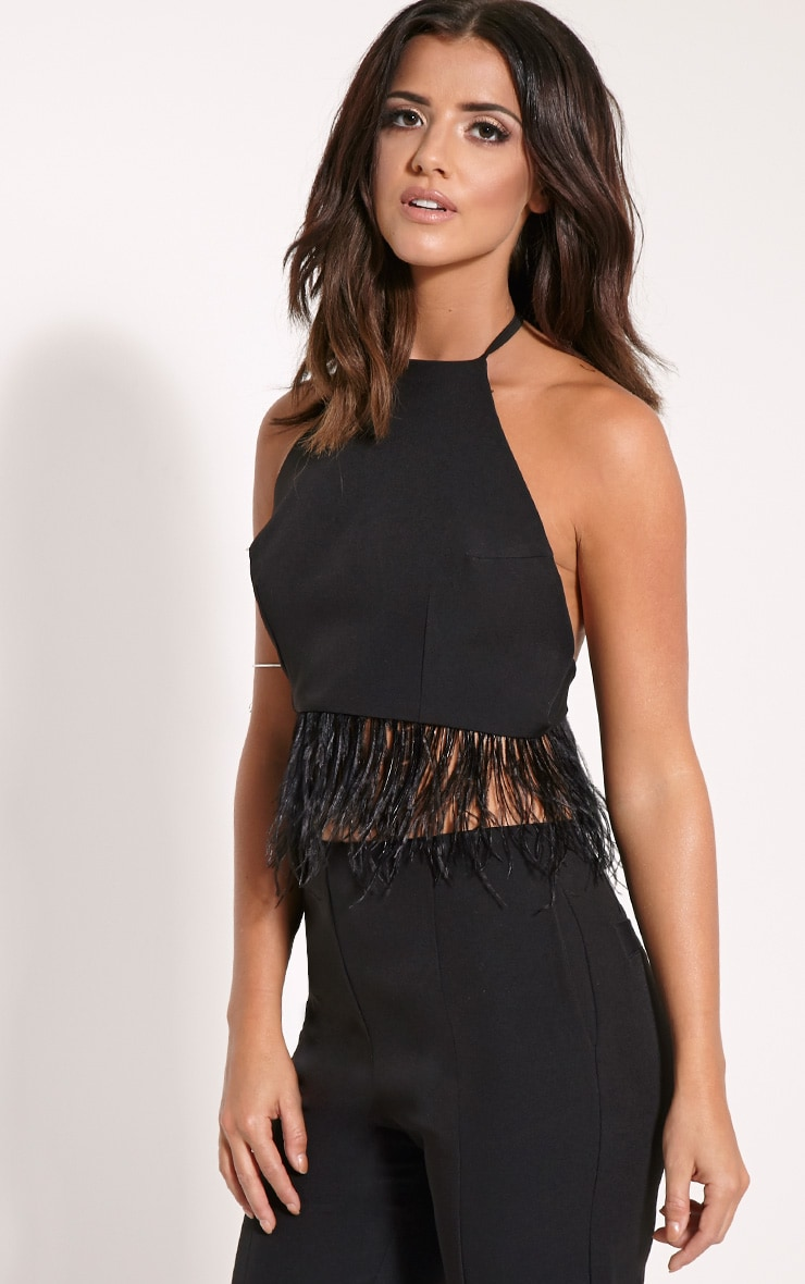 Emmaline Black Halterneck Feather Trim Crop 1