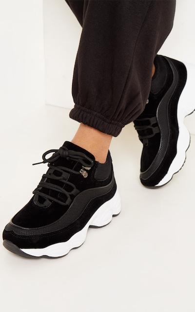 Baskets noires à semelle épaisse style randonneur 0e54c7b8ee98