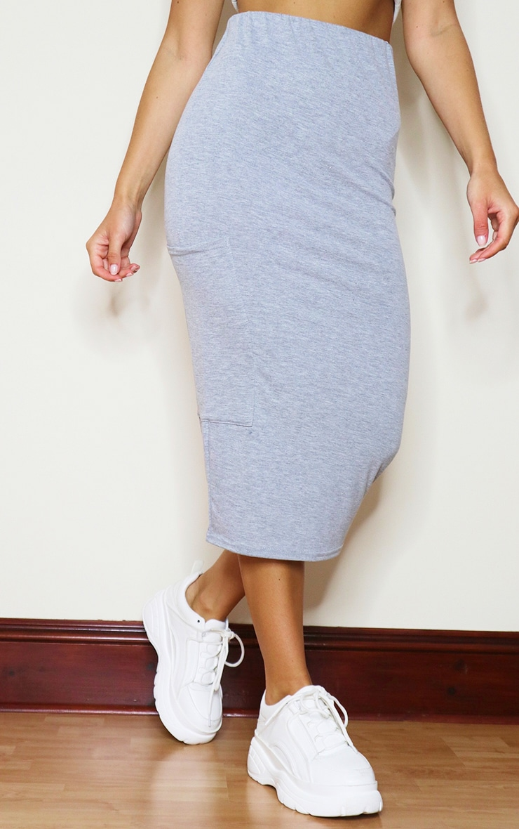 Grey Marl Jersey Pocket Detail Midaxi Skirt 2