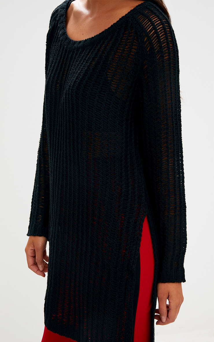 Black Soft Loose Knit Side Split Jumper 5