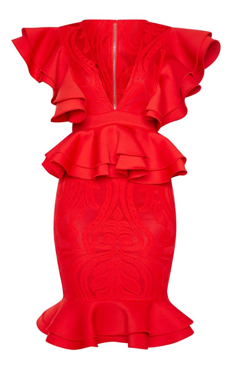 Red Ruffle Detail Plunge Midi Dress 1