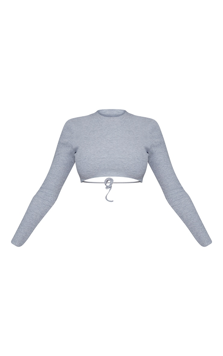 Grey Rib Open Back Crop Top 5