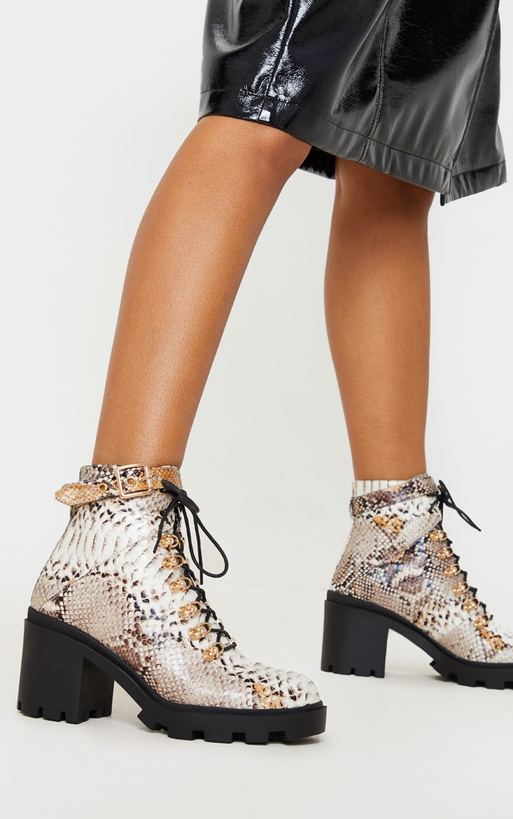 Snake Lace Up Heeled Hiker Boot 2