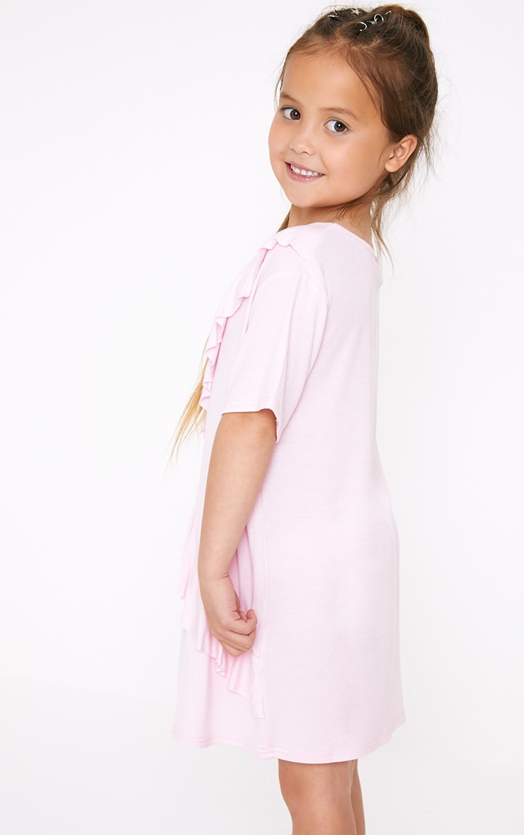 Ruffle Front Pink T Shirt Dress  2