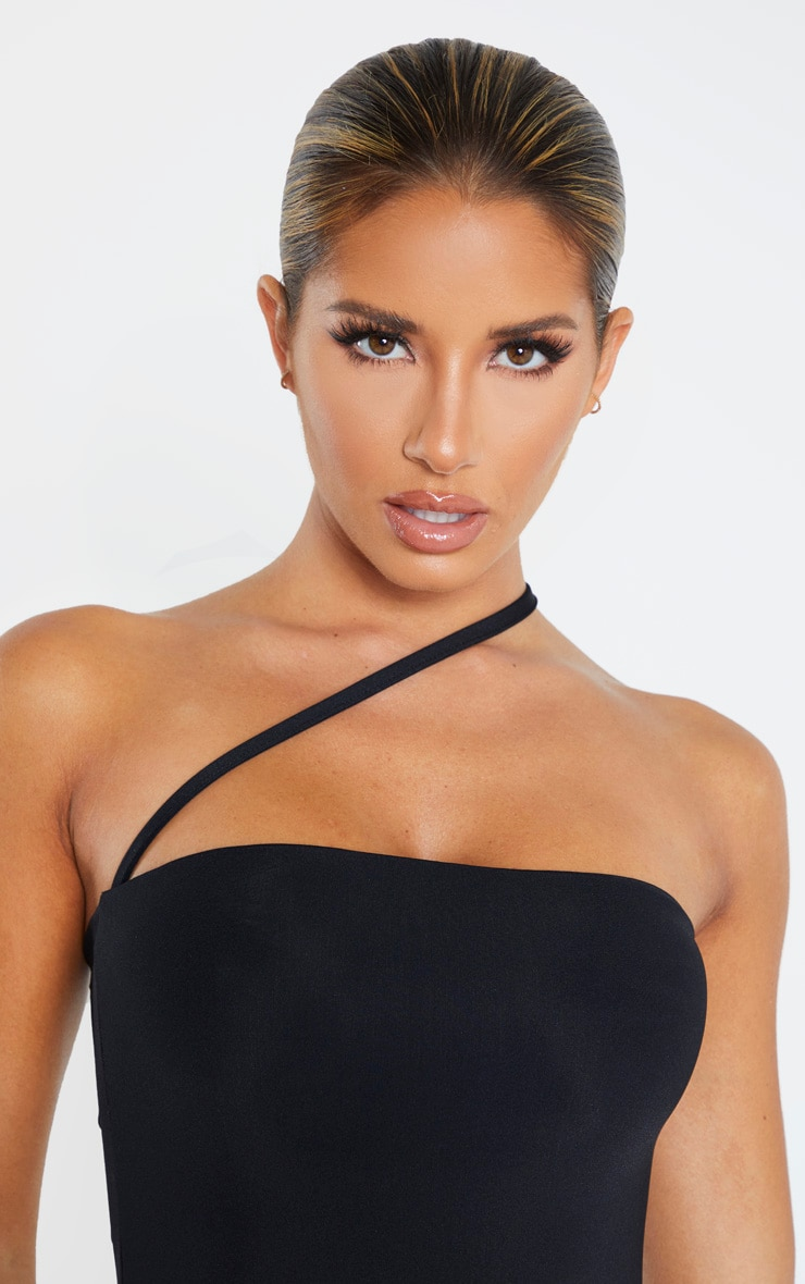 Black Asymmetric Strap Swimsuit 5