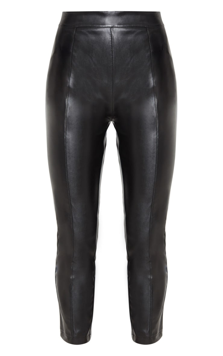 Daysha Black Cropped Faux Leather Pants 3
