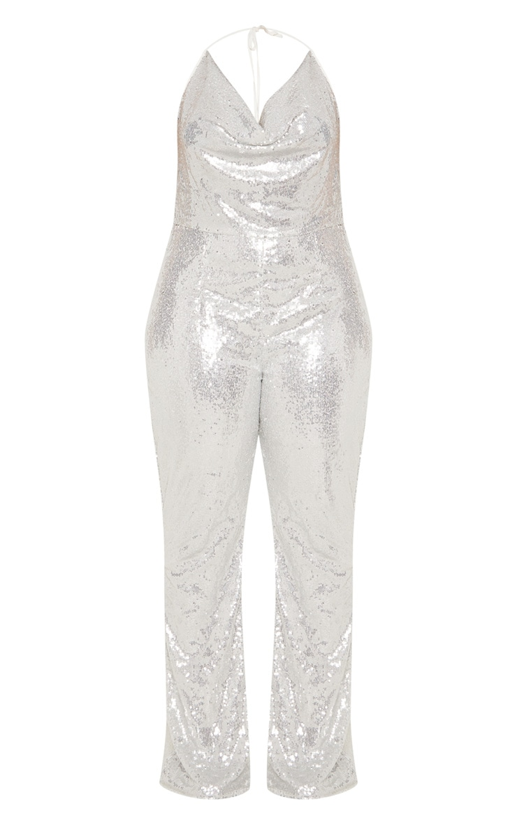 Plus Silver Sequin Cowl Neck Halterneck Jumpsuit  4