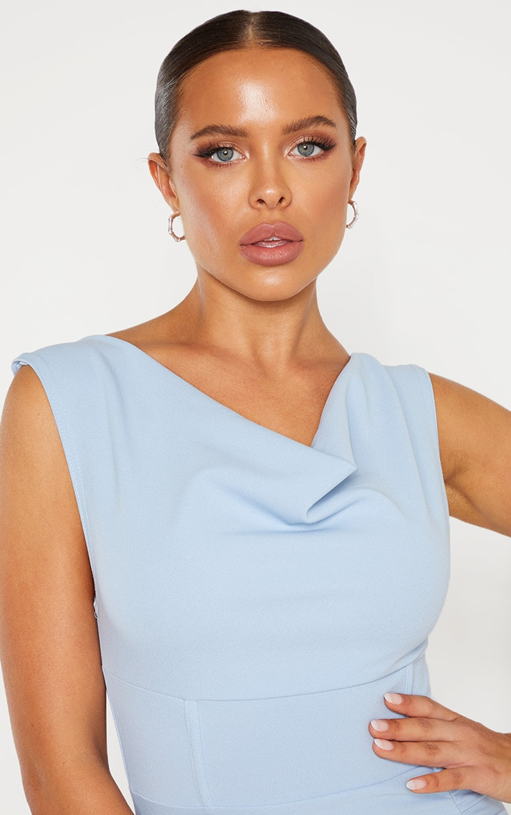 Dusty Blue Ruched Cowl Neck Midi Dress 5