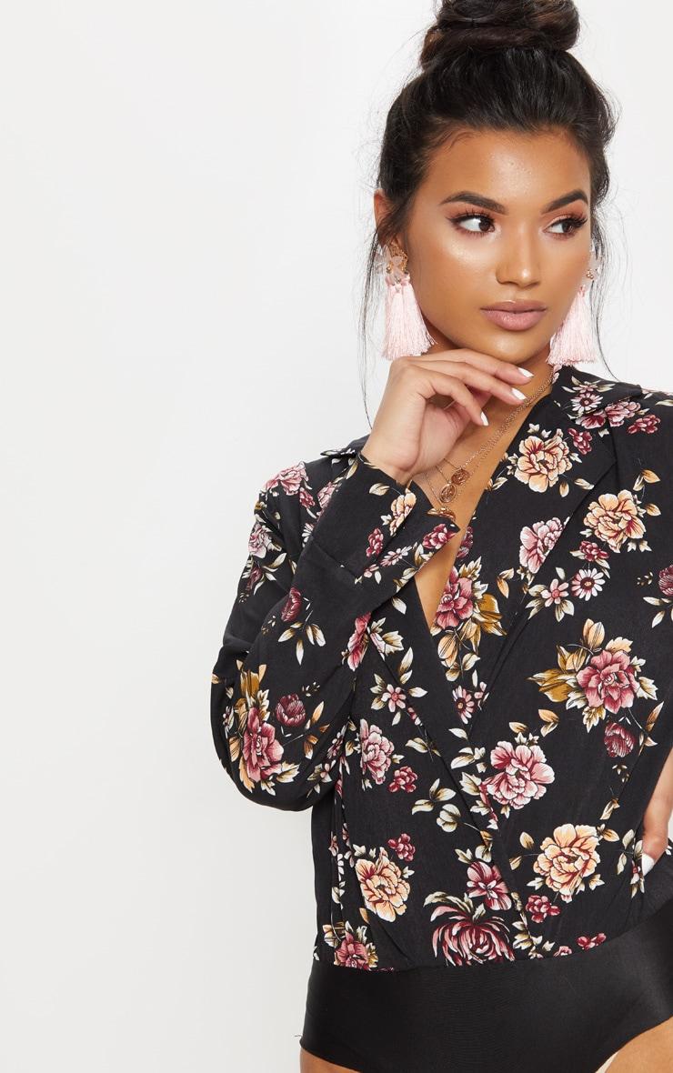 Black Floral Plunge Blazer Thong Bodysuit 6