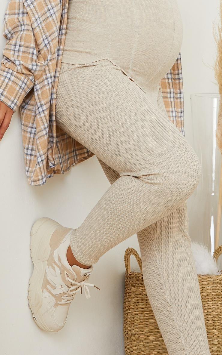 Maternity Stone Bump Shaping Knitted Wide Rib Leggings 4