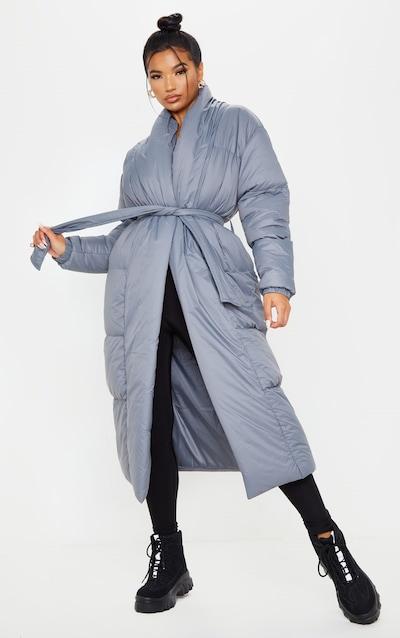 Charcoal Grey Collar Puffer Maxi Coat