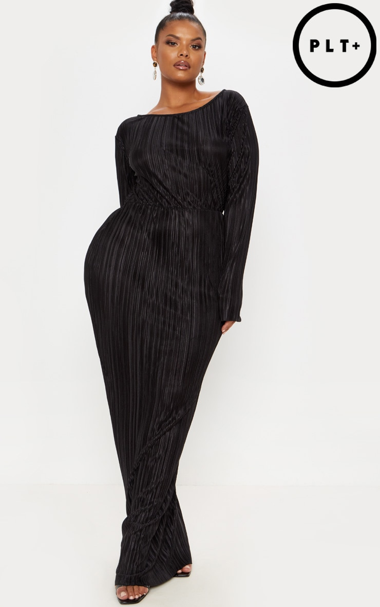 Plus Black Pleated Open Back Maxi Dress