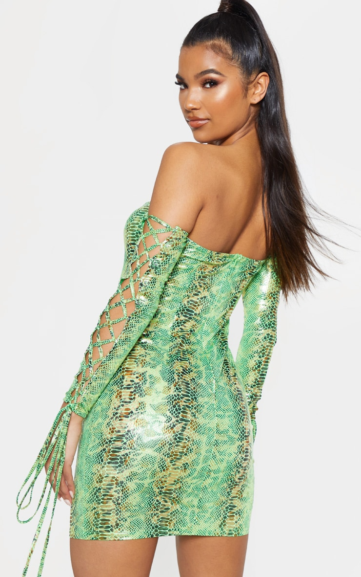 Neon Green Metallic Snake Bardot Bodycon Dress 1