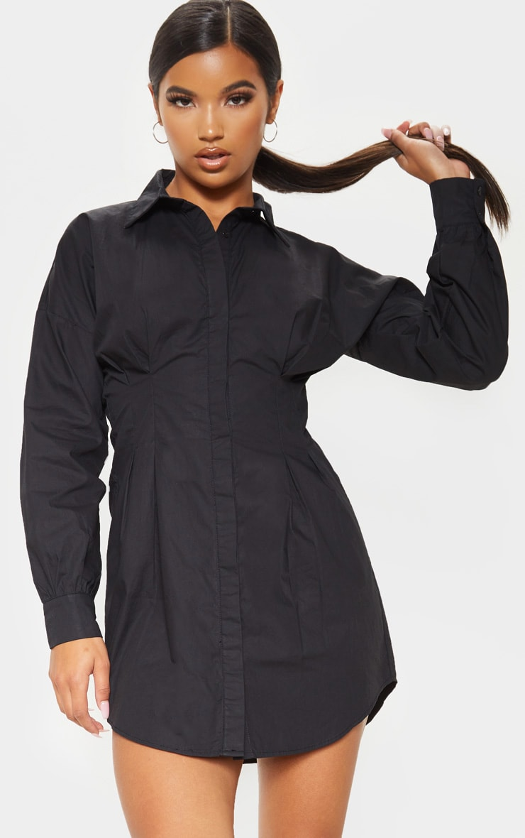 Black Fitted Waist Shirt Dress 1