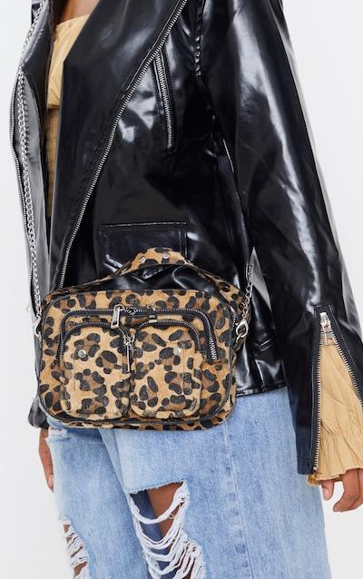 Leopard Faux Pony Hair Multi Pocket Cross Body Bag