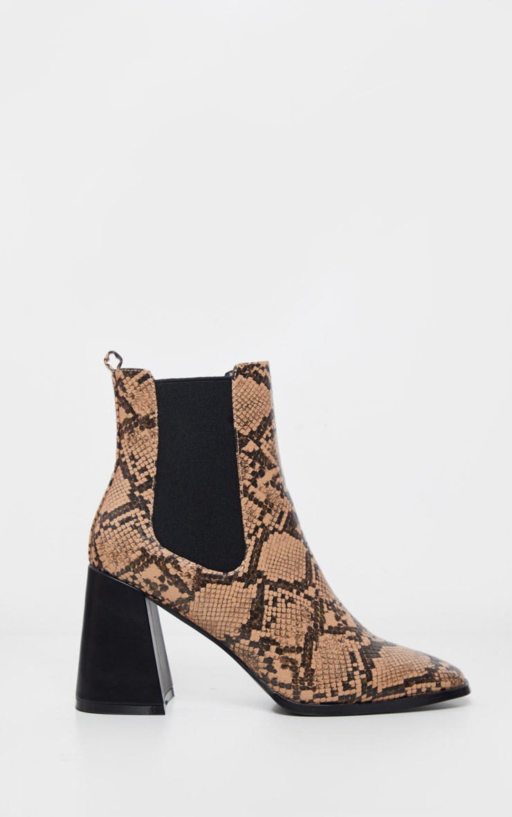 Brown Snake Square Toe Block Heel Ankle Boot 3