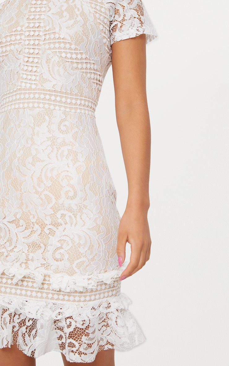 White Frill Hem Lace Bodycon Dress 5