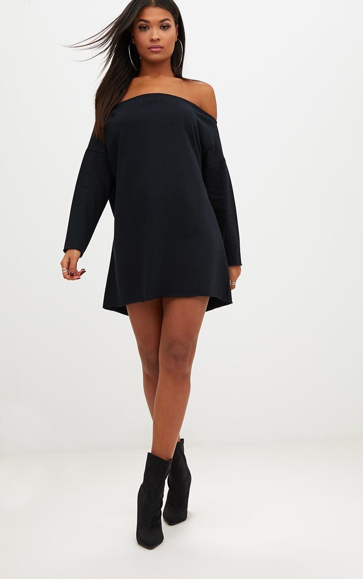 Black Bardot Raw Edge Sweater Dress 4