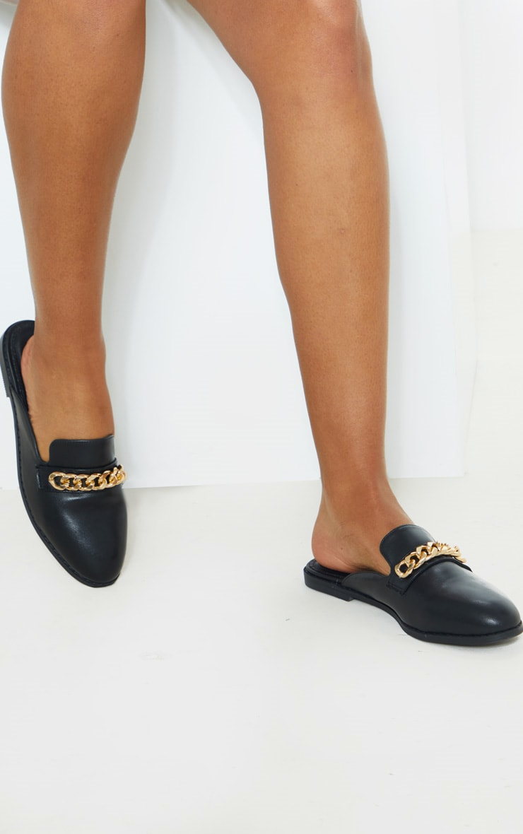 Black Chain Mule Flat Sandals 1
