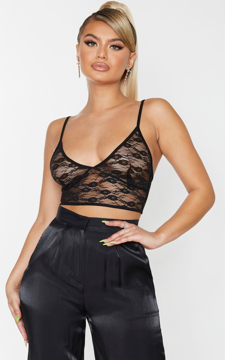 Black Sheer Lace Triangle Bralet 1
