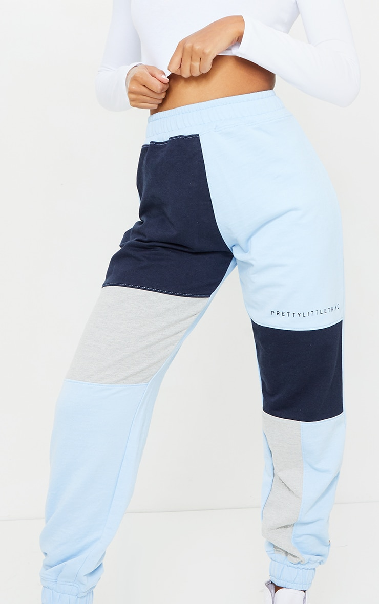 PRETTYLITTLETHING Baby Blue Colourblock Detail Casual Joggers 4
