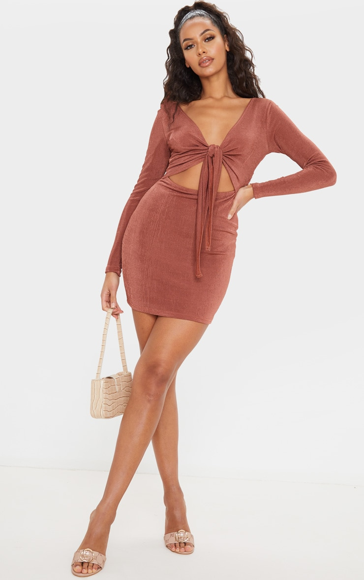 Chocolate Brown Textured Slinky Tie Front Bodycon Dress by Prettylittlething