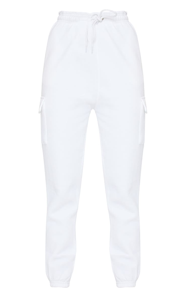 White Pocket Detail Casual Joggers 5