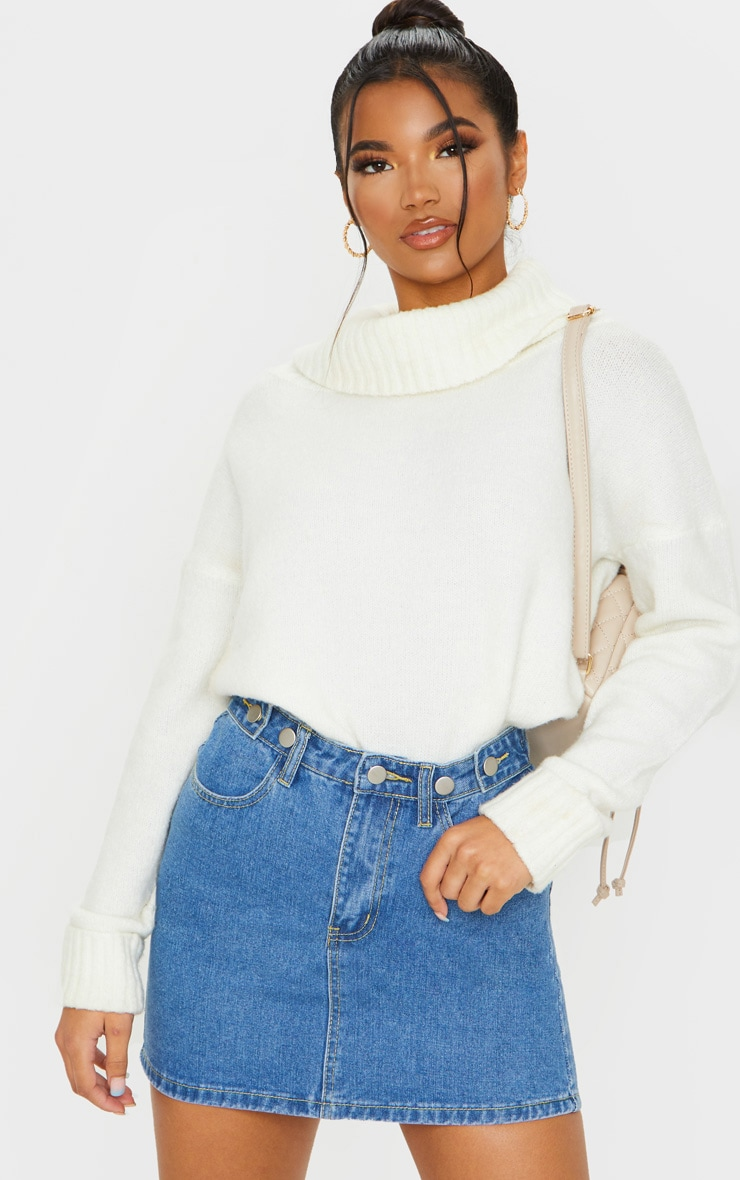 Mid Blue Wash Button Waist Skirt 1