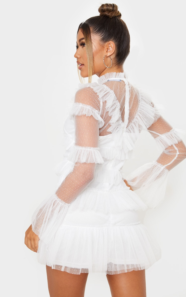 White Ruffle Mesh Bodycon Dress 2