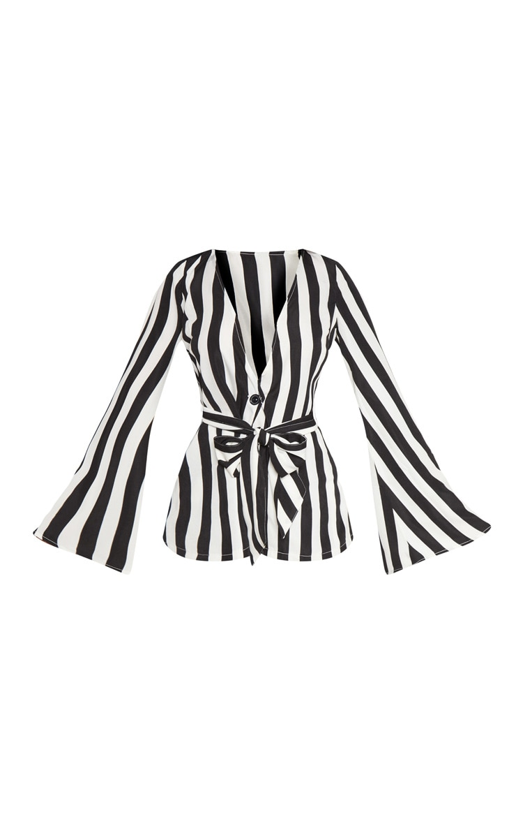 Petite Monochrome Striped Woven Belt Detail Blazer 3