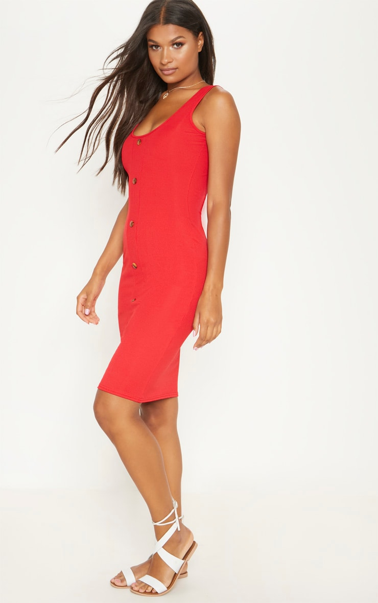 Red Ribbed Scoop Tortoise Shell Button Down Bodycon Dress 4