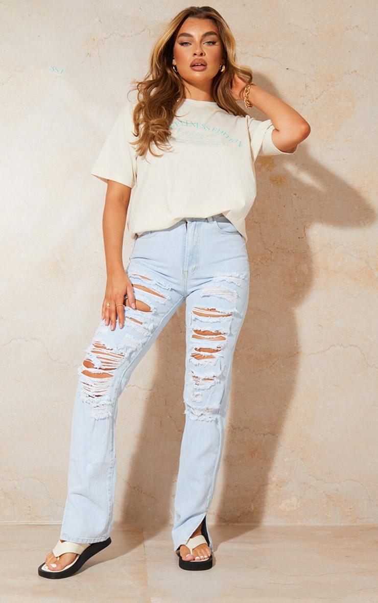 Bleach Wash Full Ripped Split Hem Jeans 1