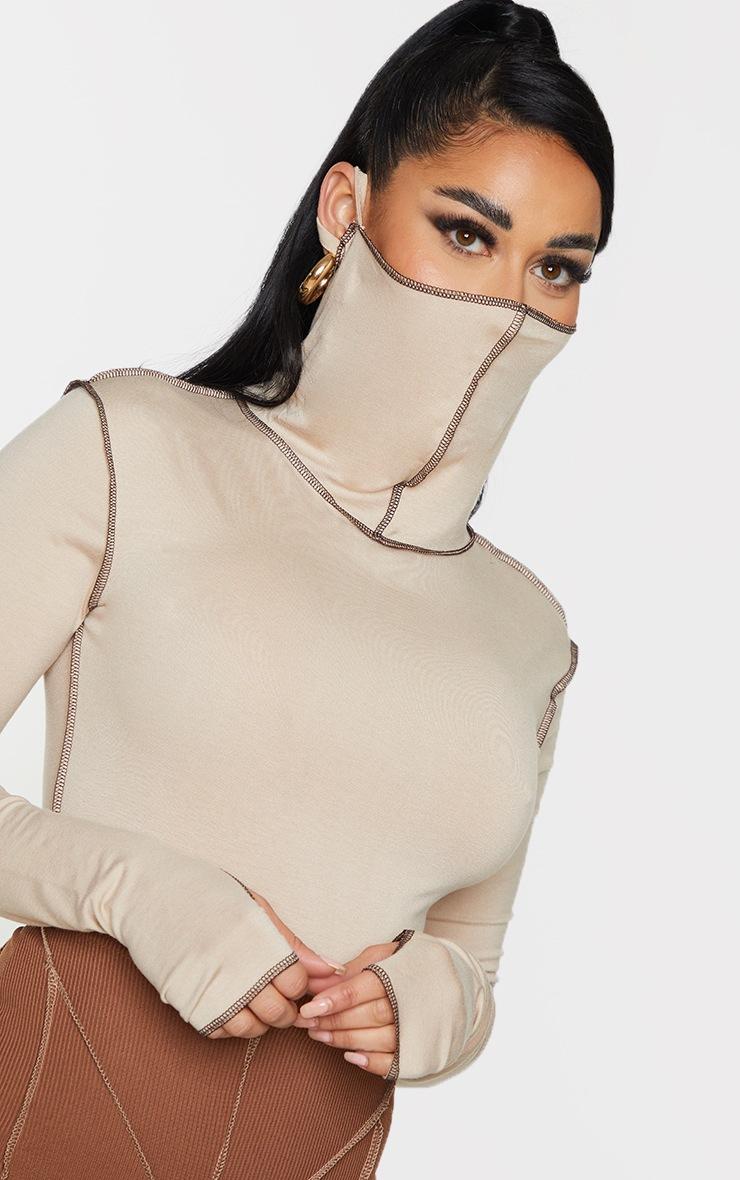 Shape Stone Jersey Contrast Stitch Thumb Hole Mask Bodysuit 4