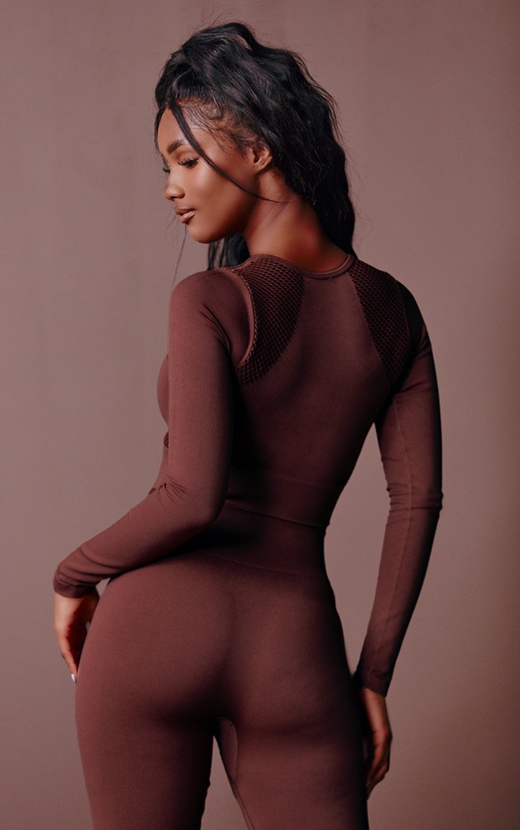 Chocolate Cut Out Seamless Long Sleeve Top 2