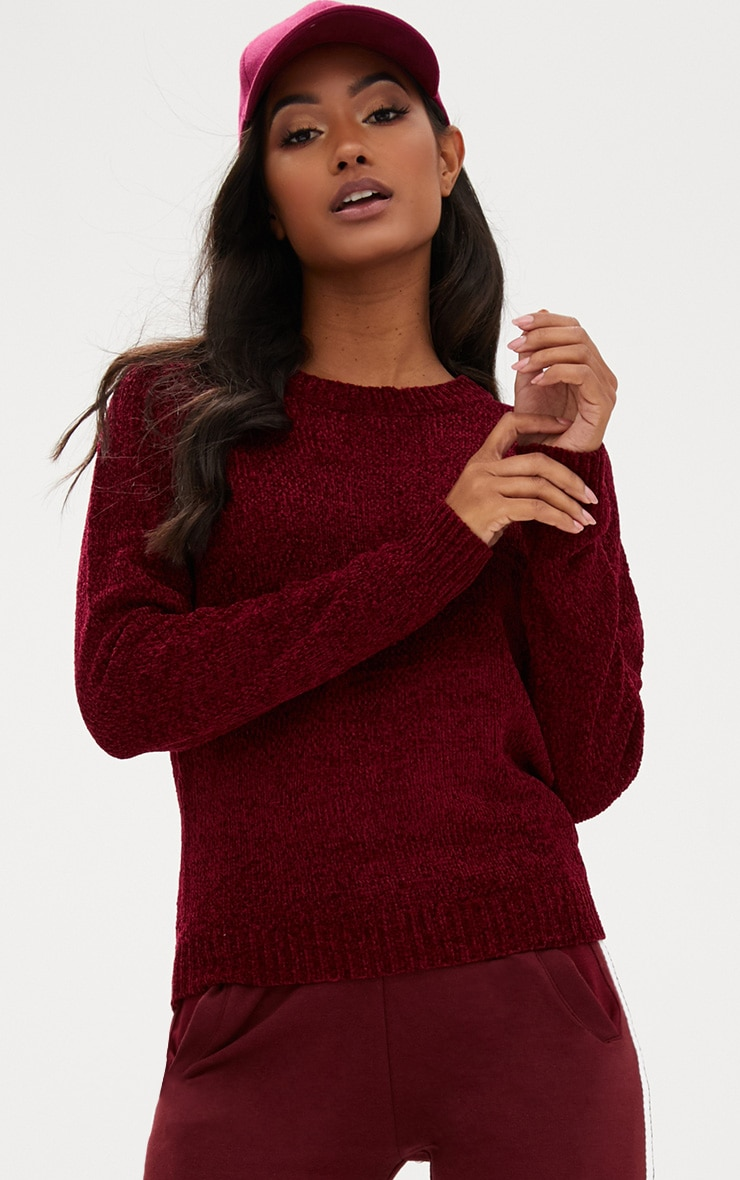 Burgundy Chenille Crew Neck Jumper 1