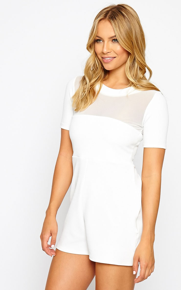 Sallie White Mesh Insert Playsuit 4