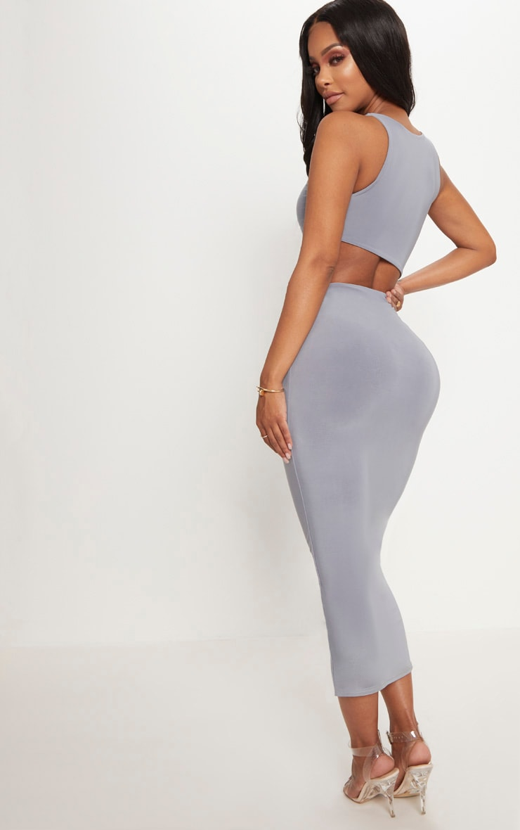 Shape Ice Grey Extreme Cut Out Midaxi Dress 2
