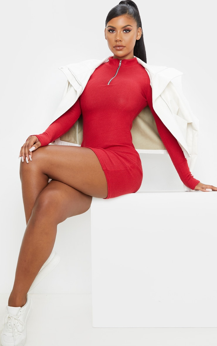 Scarlet Brushed Rib Long Sleeve Zip Front Bodycon Dress 4