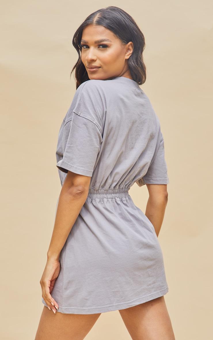 PRETTYLITTLETHING Charcoal Cotton Wrap Skirt T Shirt Dress 2