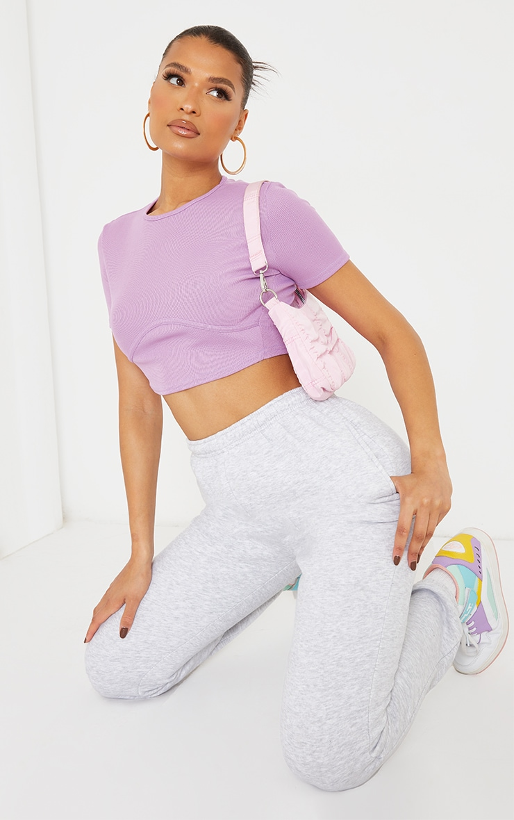 Lilac Structured Rib Underbust Detail Short Sleeve Crop Top 3